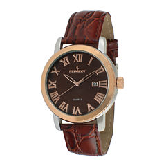 Peugeot® Mens Brown Leather Strap Watch 2040RBR