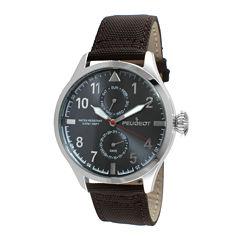 Peugeot® Mens Brown Strap Aviator Watch 2044SBR