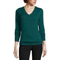 Worthington Long Sleeve V Neck Pullover Sweater