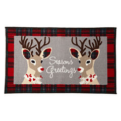 North Pole Trading Co. Holiday Reindeer Rectangular Rug
