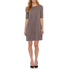London Style Elbow Sleeve Shift Dress-Petites