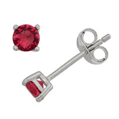 Round Red Cubic Zirconia Sterling Silver Stud Earrings