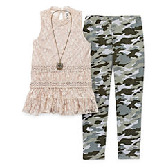 Knit Works High Neck Lace Tank Top Legging Set with Necklace- Girls' Plus