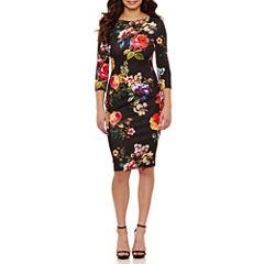 Bisou Bisou Elbow Sleeve Floral Sheath Dress