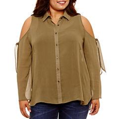Self Esteem Relaxed Fit Long Sleeve Button-Front Shirt-Juniors Plus