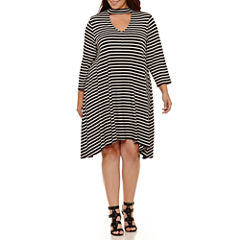 Boutique + 3/4 Sleeve A-Line Dress-Plus
