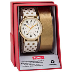 Timex Weekender 38 Box Set Womens White 2-pc. Watch Boxed Set-Twg015200jt
