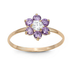 Girls 1/5 CT. T.W. Lab Created Purple Cubic Zirconia 10K Gold Delicate Ring