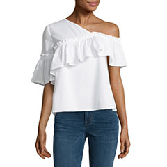 a.n.a. One Shoulder Ruffle Top Blouse