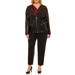 Liz Claiborne Long Sleeve Faux Leather Jacket or Sleeveless Metal Trim Drape Top or Emma Ankle Pant-Plus