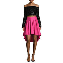 City Triangle Long Sleeve Party Dress-Juniors