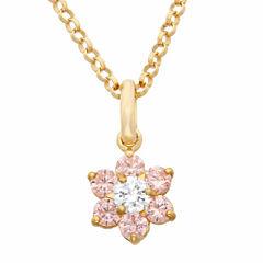 Girls Pink Cubic Zirconia 14K Gold Pendant Necklace
