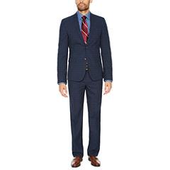 JF J. Ferrar Navy Check Suit Separates-Super Slim