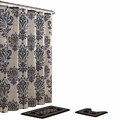 Reverly Damask 15-Piece Shower Curtain Set
