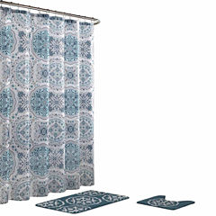 Caroline Geometric 15-Pc Shower Curtain Set