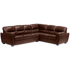Leather Possibilities Pad-Arm 2pc Right- Arm Corner Sofa Sectional