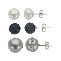 Pearl & Crystal Sterling Silver 3-pr. Stud Earrings Boxed Set