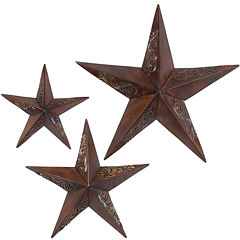 Set of 3 Rustic Stars Wall Art