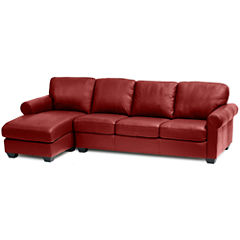 Leather Possibilities Roll-Arm 2pc Right-Arm Sofa/Chaise Sectional