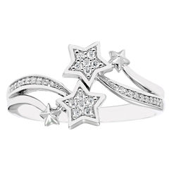 Enchanted Fine Jewelry By Disney Enchanted By Disney Womens 1/10 CT. T.W. Genuine White Diamond Sterling Silver Bypass Ring