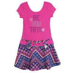 Lilt Short Sleeve Drop Waist Dress - Preschool Girls