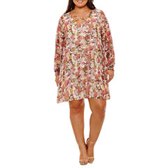 Boutique + Long Sleeve Floral Sheath Dress-Plus