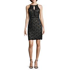 R&M Richards Sleeveless Lace Keyhole Sheath Dress