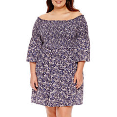 Arizona 3/4 Sleeve Pattern Fit & Flare Dress-Juniors Plus