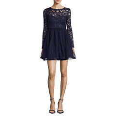 My Michelle Long Sleeve Party Dress-Juniors