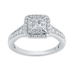 Hallmark Diamonds Womens 3/4 CT. T.W. Genuine Multi-Shape White Diamond 10K Gold Engagement Ring