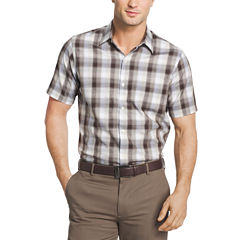 Van Heusen Short Sleeve Checked Button-Front Shirt-Big and Tall