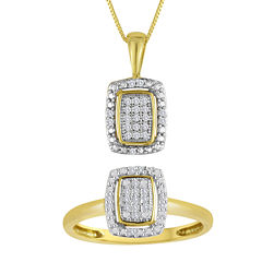 1/10 CT. T.W. Diamond 10K Yellow Gold Pendant Necklace and Ring Set