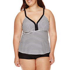 Arizona Summertime Striped Tankini Swim Top - Juniors Plus