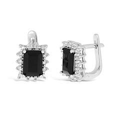 Black Onyx Sterling Silver Hoop Earrings