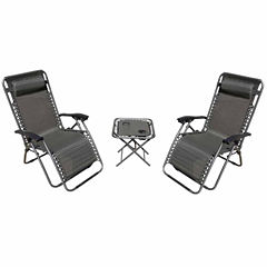 Zero Gravity 2 Chairs and 1 Table Patio Furniture (Set of 3)