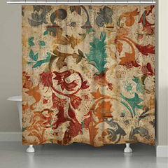 Laural Home Floral Scroll Shower Curtain