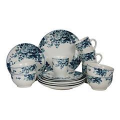 Elama Traditional Blue Rose 16-pc. Dinnerware Set