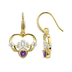 Heart-Shaped Genuine Amethyst and Diamond-Accent Claddagh Earrings