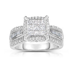 1 CT. T.W. Diamond 10K White Gold Princess-Cut Multi-Top Ring
