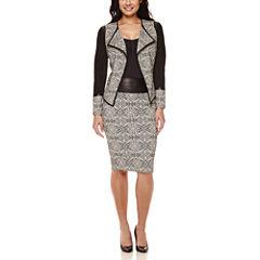 Bisou Bisou® Draped Faux-Leather Trim Jacket, Back Caged Cami & Jacquard Skirt