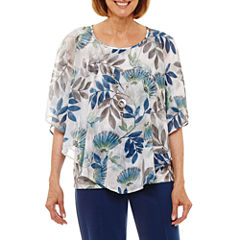 Alfred Dunner Arizona Sky Short Sleeve Crew Neck Woven Blouse-Petites