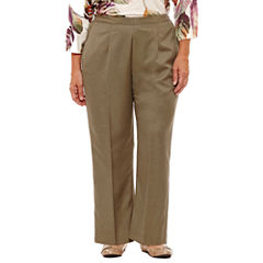 Alfred Dunner Palm Desert Woven Flat Front Pants-Plus Short