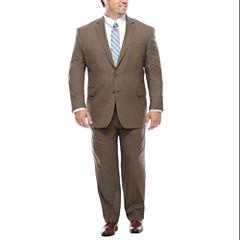 Stafford® Travel Wool Blend Stretch Brown Sharkskin-Big & Tall