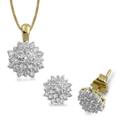 Diamond Blossom Womens 2-pc. 1 CT. T.W. White Diamond 10K Gold Jewelry Set