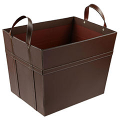 St. Croix Trading Brown Leather Magazine Basket with Handles