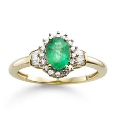 Genuine Emerald & 1/4 CT. T.W. Diamond 10K Gold Ring