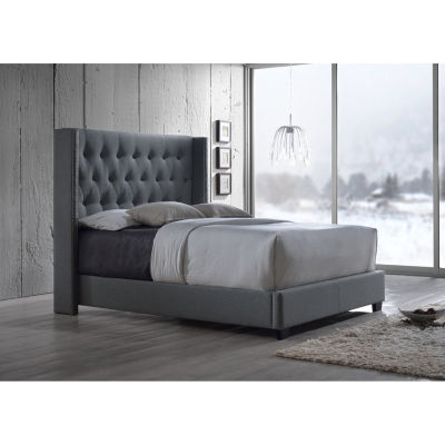 Baxton Studio Katherine Wing Back Upholstered Bed