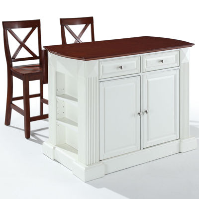 Amberly Drop Leaf Kitchen Island With 2 X Back Stools