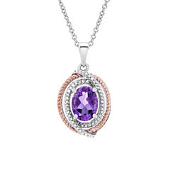 1/10 CT. T.W. Purple Amethyst Oval 14K Gold Over Silver Pendant