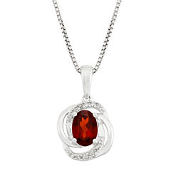 Diamond Accent Red Garnet Oval Sterling Silver Pendant